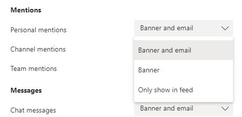 Email notification window in Teams.