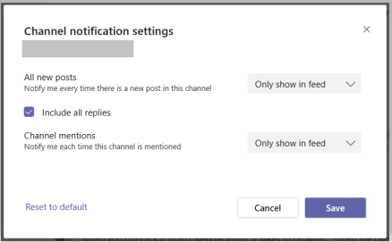 An overview of Channel Notification Settings in Teams.