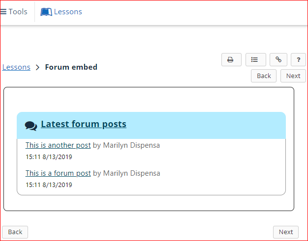 screenshot showing forum posts embedded on lessons page