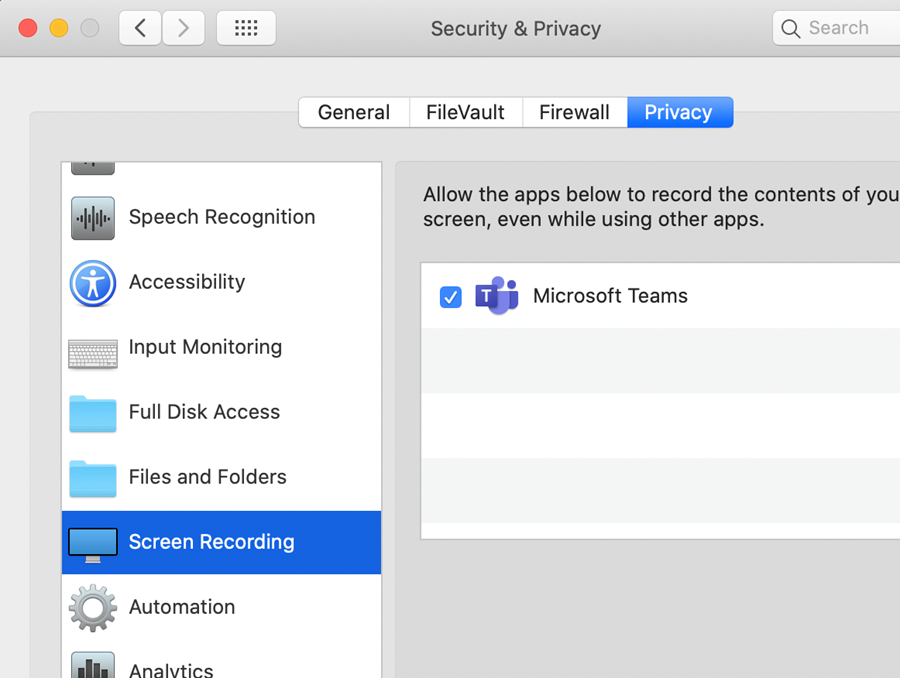 A screenshot of the Security & Privacy settings in macOS with Microsoft Teams checked.