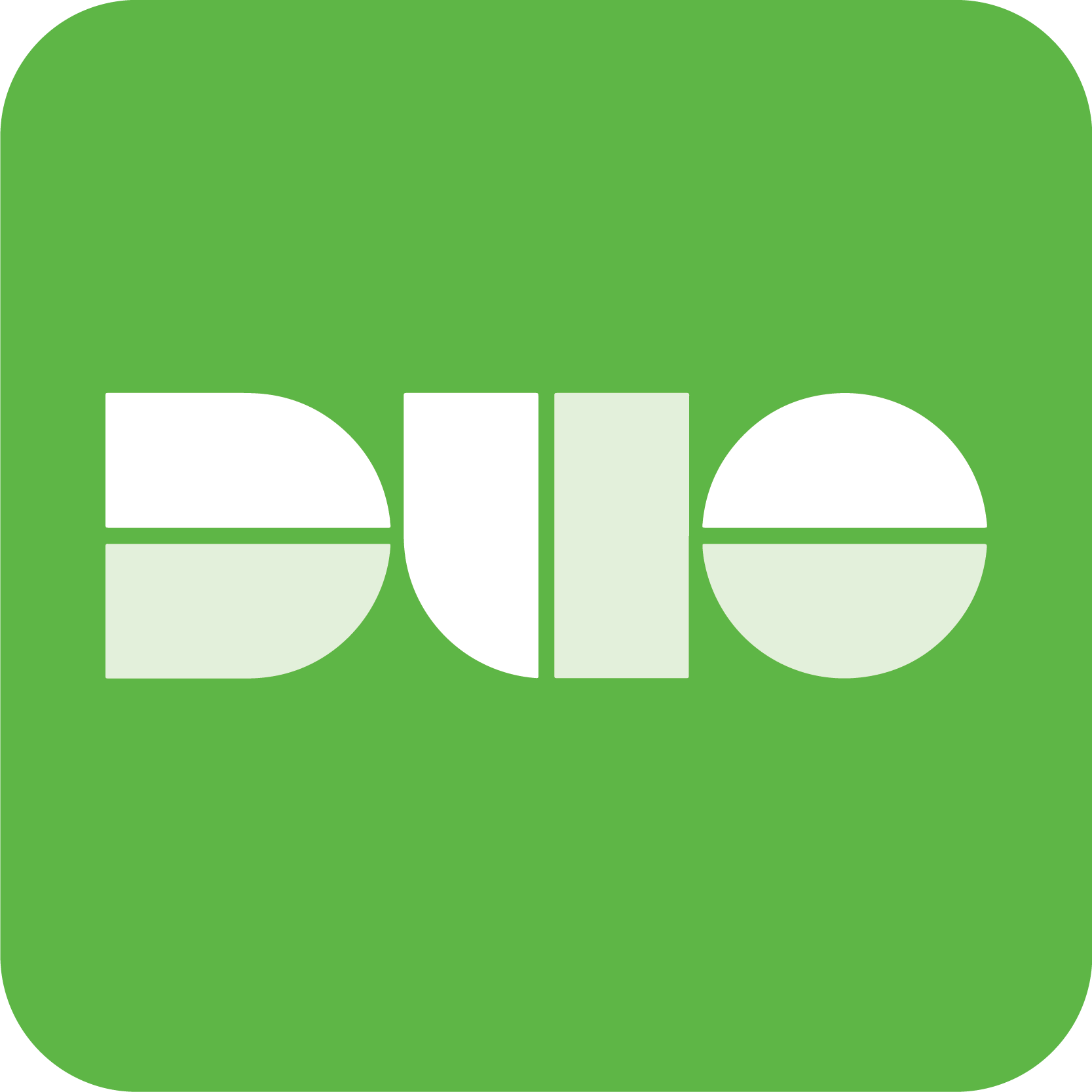 "Image with Green background and centered white block letters spelling ""DUO""."
